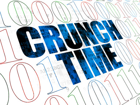 crunch: Finance concept: Pixelated blue text Crunch Time on Digital wall background with Binary Code Stock Photo