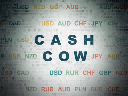 cash cow: Business concept: Painted blue text Cash Cow on Digital Paper background with Currency