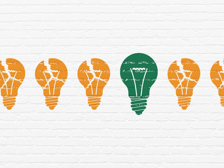 broken strategy: Business concept: row of Painted orange light bulb icons around green light bulb icon on White Brick wall background Stock Photo