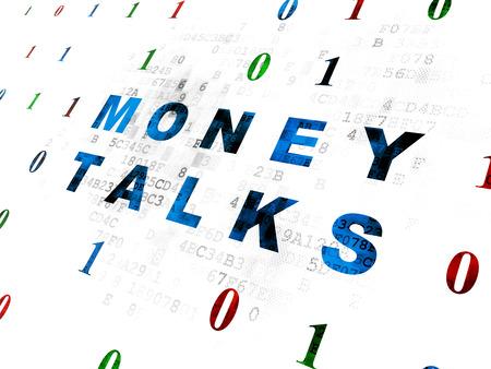 conversaciones: Concepto de negocio: Pixelated texto azul negociaciones del dinero en el fondo de la pared digital con código binario