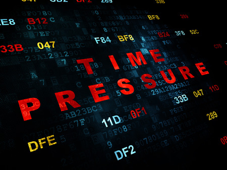 time pressure: Timeline concept: Pixelated red text Time Pressure on Digital wall background with Hexadecimal Code Stock Photo