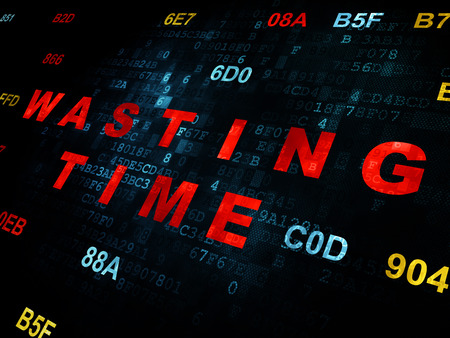wasting: Time concept: Pixelated red text Wasting Time on Digital wall background with Hexadecimal Code