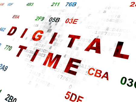 hexadecimal: Timeline concept: Pixelated red text Digital Time on Digital wall background with Hexadecimal Code Stock Photo