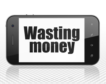 wasting: Money concept: Smartphone with black text Wasting Money on display Stock Photo