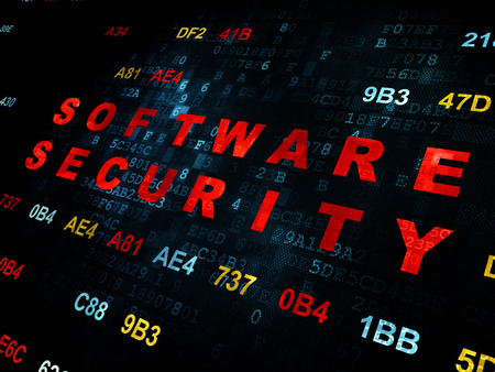 hexadecimal: Safety concept: Pixelated red text Software Security on Digital wall background with Hexadecimal Code