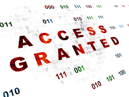 access granted: Privacy concept: Pixelated red text Access Granted on Digital wall background with Binary Code