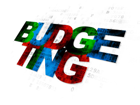 budgeting: Finance concept: Pixelated multicolor text Budgeting on Digital background