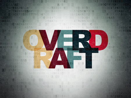 overdraft: Finance concept: Painted multicolor text Overdraft on Digital Paper background
