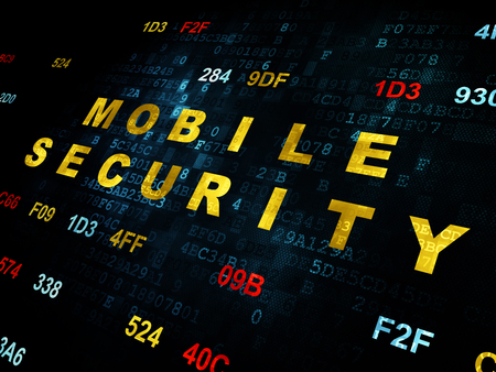 passkey: Protection concept: Pixelated yellow text Mobile Security on Digital wall background with Hexadecimal Code