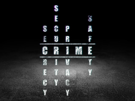 crime solving: Security concept: Glowing word Crime in solving Crossword Puzzle in grunge dark room with Dirty Floor, black background Stock Photo