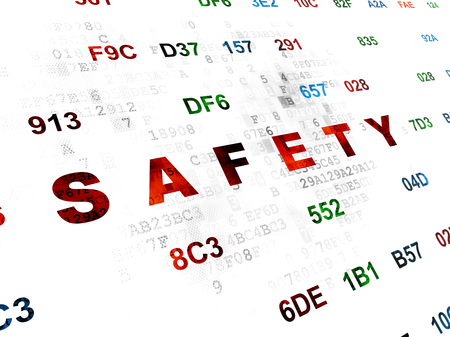 hexadecimal: Safety concept: Pixelated red text Safety on Digital wall background with Hexadecimal Code