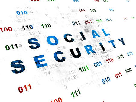 passkey: Protection concept: Pixelated blue text Social Security on Digital wall background with Binary Code Stock Photo