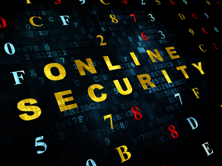 online safety: Safety concept: Pixelated yellow text Online Security on Digital wall background with Hexadecimal Code