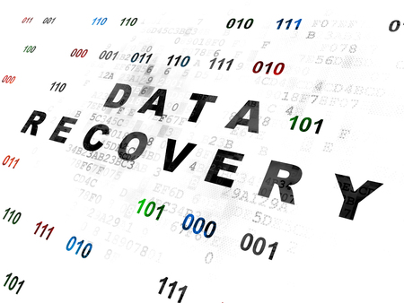 data recovery: Data concept: Pixelated black text Data Recovery on Digital wall background with Binary Code