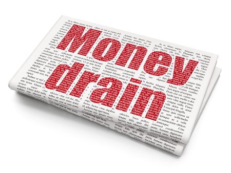 news values: Banking concept: Pixelated red text Money Drain on Newspaper background Stock Photo
