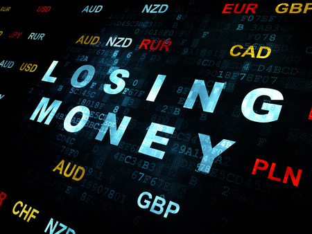 losing money: Currency concept: Pixelated blue text Losing Money on Digital wall background with Currency