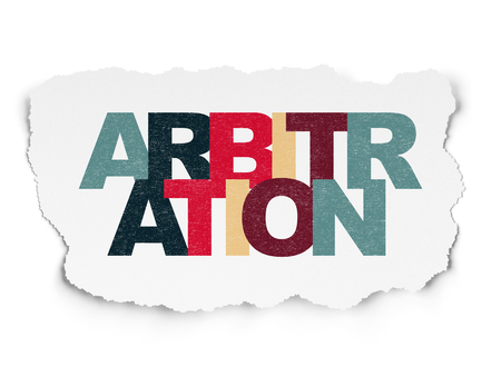 arbitration: Law concept: Painted multicolor text Arbitration on Torn Paper background Stock Photo