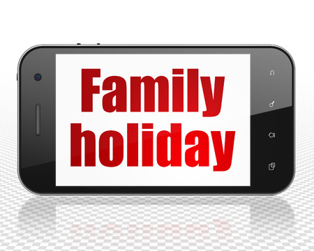 holiday display: Vacation concept: Smartphone with red text Family Holiday on display