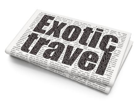 viaje familia: el concepto de viaje: Texto Pixelated Viajes exóticos en el fondo Periódico Foto de archivo