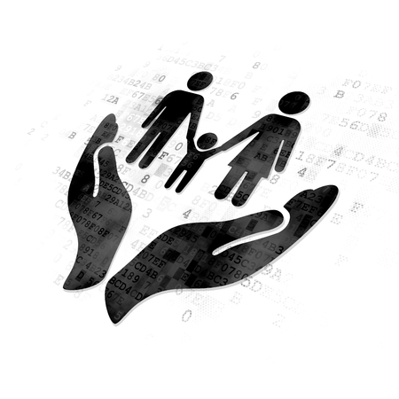 black family: Insurance concept: Pixelated black Family Insurance icon on Digital background