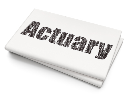 actuary: Insurance concept: Pixelated  text Actuary on Blank Newspaper background