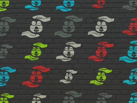 black family: Insurance concept: Painted multicolor Family Insurance icons on Black Brick wall background
