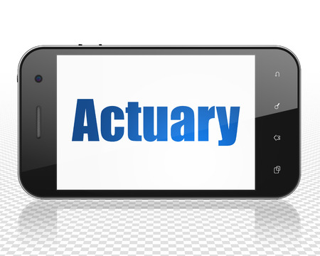actuary: Insurance concept: Smartphone with blue text Actuary on display Stock Photo