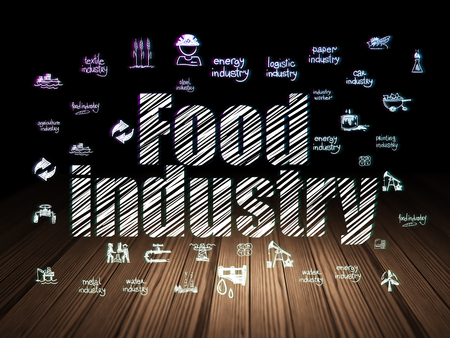 food industry: Industry concept: Glowing text Food Industry,  Hand Drawn Industry Icons in grunge dark room with Wooden Floor, black background Stock Photo