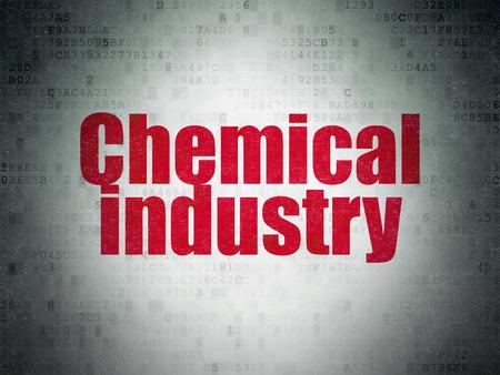 industria quimica: concepto Manufacuring: Pintado palabra roja en el fondo de la Industria Química papel digital