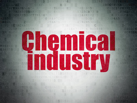 Manufacuring concept: Painted red word Chemical Industry on Digital Paper background
