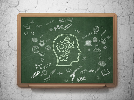 Education concept: Chalk Green Head With Gears icon on School Board background with Scheme Of Hand Drawn Education Icons