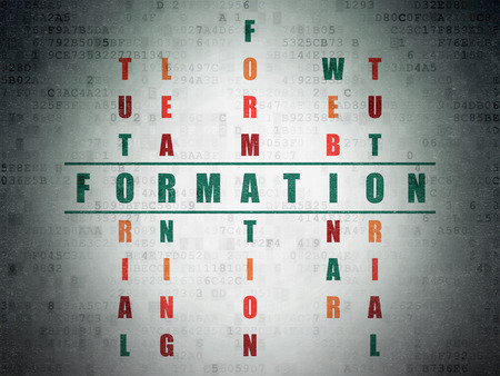 formations: Studying concept: Painted green word Formation in solving Crossword Puzzle on Digital Paper background