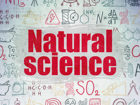 natural science: Science concept: Painted red text Natural Science on Digital Paper background with   Hand Drawn Science Icons