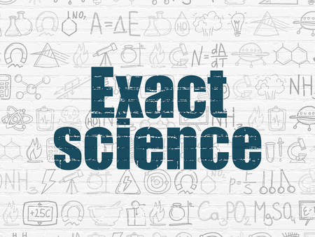 exact science: Science concept: Painted blue text Exact Science on White Brick wall background with  Hand Drawn Science Icons