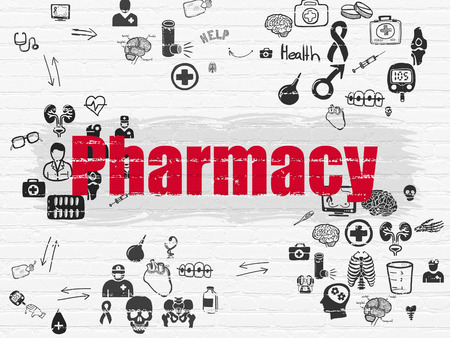healing process: Medicine concept: Painted red text Pharmacy on White Brick wall background with Scheme Of Hand Drawn Medicine Icons Stock Photo