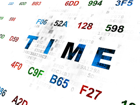 hexadecimal: Timeline concept: Pixelated blue text Time on Digital wall background with Hexadecimal Code