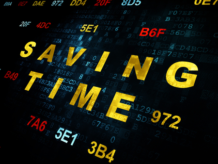 hexadecimal: Time concept: Pixelated yellow text Saving Time on Digital wall background with Hexadecimal Code