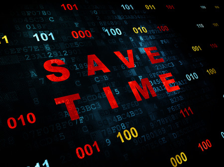 save time: Time concept: Pixelated red text Save Time on Digital wall background with Binary Code Stock Photo