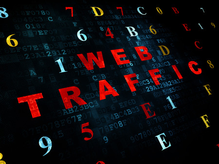 web traffic: Web design concept: Pixelated red text Web Traffic on Digital wall background with Hexadecimal Code Stock Photo