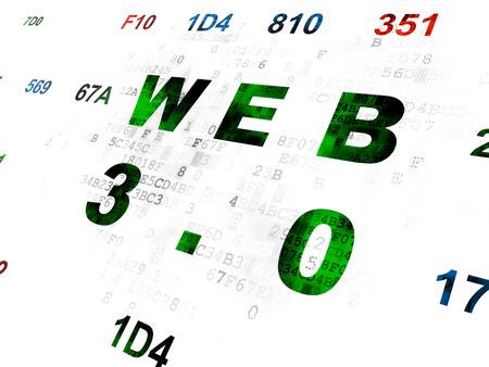 hexadecimal: Web development concept: Pixelated green text Web 3.0 on Digital wall background with Hexadecimal Code