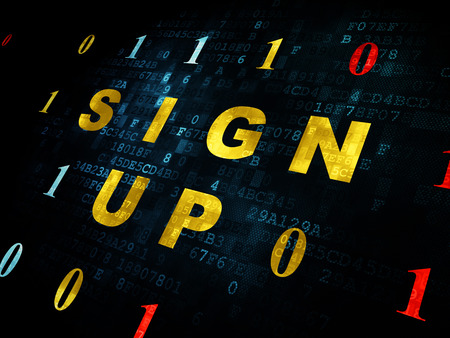 up code: Web design concept: Pixelated yellow text Sign Up on Digital wall background with Binary Code