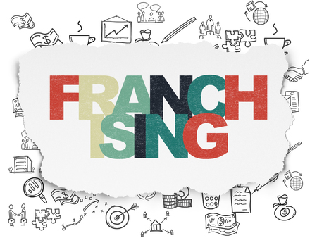 franchising: Business concept: Painted multicolor text Franchising on Torn Paper background with  Hand Drawn Business Icons Stock Photo