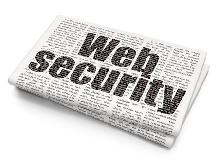 web security: Web development concept: Pixelated  text Web Security on Newspaper background