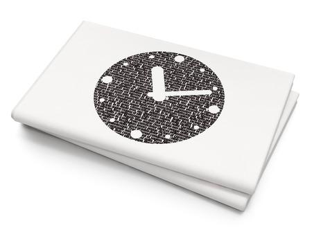 cronologia: Concepto de l�nea de tiempo: icono Reloj de pixelado en el fondo blanco Peri�dico