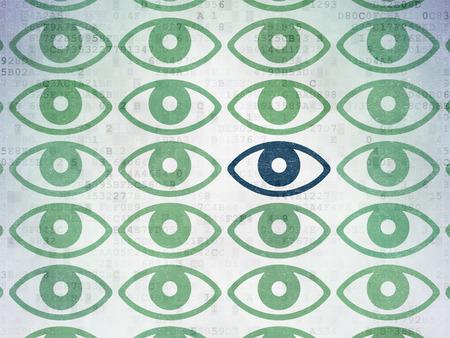 eye green: Concepto de seguridad: hileras de pintadas iconos de ojo verdes alrededor azul icono del ojo en el fondo de papel digital Foto de archivo