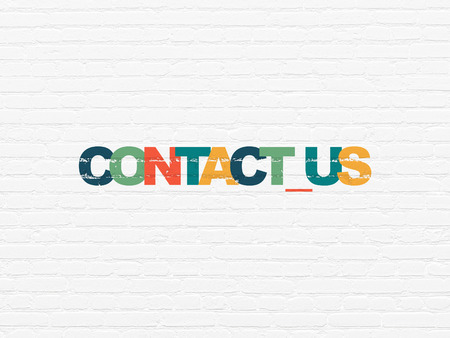 business contact: Business concept: Painted multicolor text Contact us on White Brick wall background