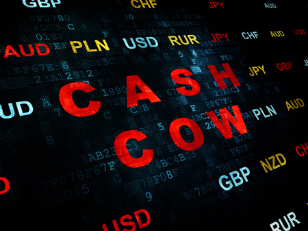 cash cow: Finance concept: Pixelated red text Cash Cow on Digital wall background with Currency