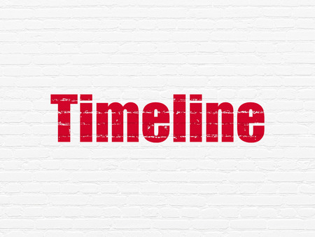 cronologia: Timeline concept: Painted red text Timeline on White Brick wall background Foto de archivo