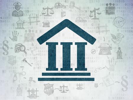 ley: Concepto de la ley: Pintado icono azul del palacio de justicia en el fondo papel digital con el Esquema de dibujado a mano Iconos Derecho Foto de archivo