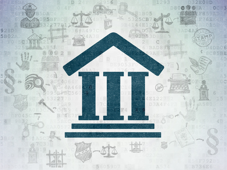 information technology law: Law concept: Painted blue Courthouse icon on Digital Paper background with Scheme Of Hand Drawn Law Icons